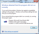 Visual Studio - compatibility assistant