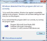 Visual Studio - compatibility assistant